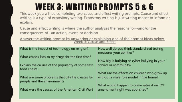 cause and effect writing prompts Expository writing: cause and effect suggested learning strategies: quickwrite, marking the text, graphic organizer.