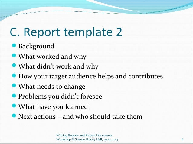writing a report template