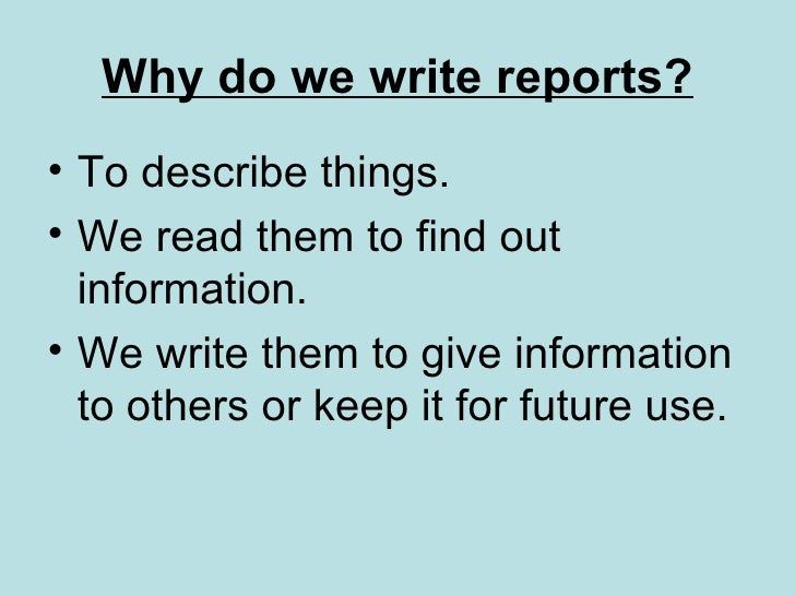 writing reports presentation