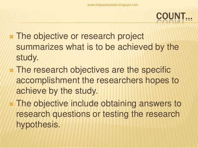 Examples of study objectives