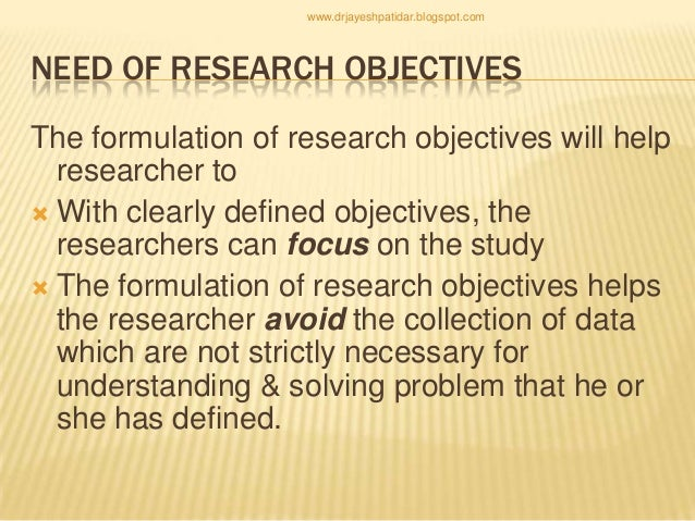 examples of research objectives in a research proposal