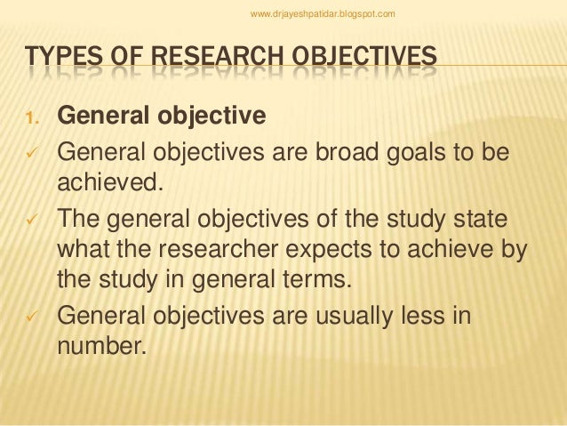 types of research objectives