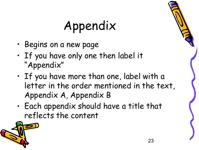 Appendix paper research write