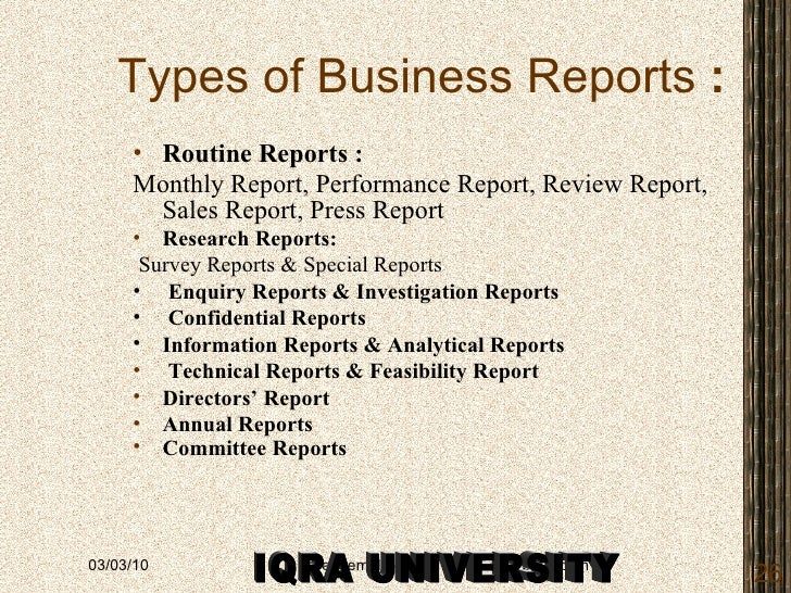 Writing Research Reportsclass – Type of Business Report