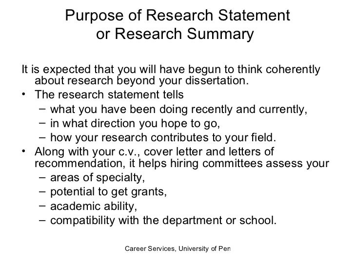 Writing Research Statement