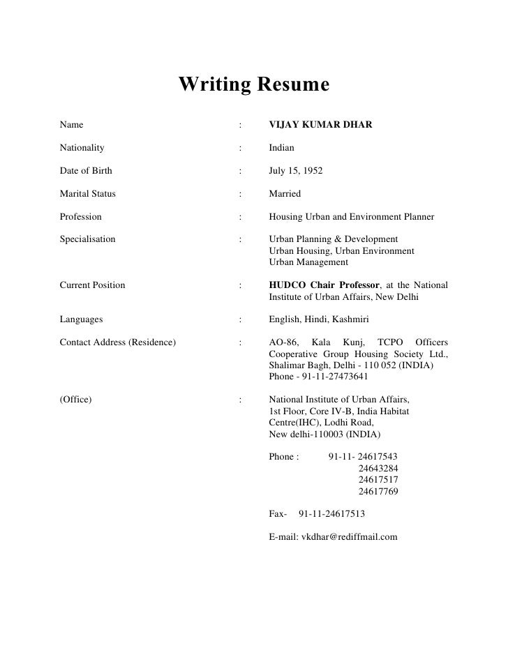Writing Resume Name : VIJAY KUMAR ...  Write Resume