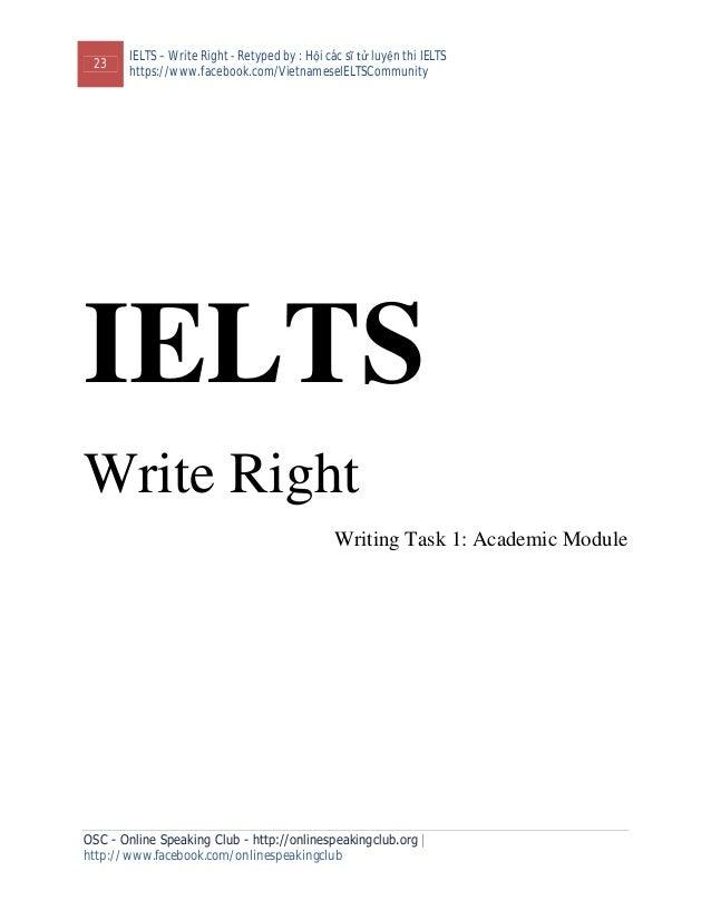 23 IELTS – Write Right - Retyped by : Hội các sĩ tử luyện thi IELTS https://www.facebook.com/VietnameseIELTSCommunity OSC ...