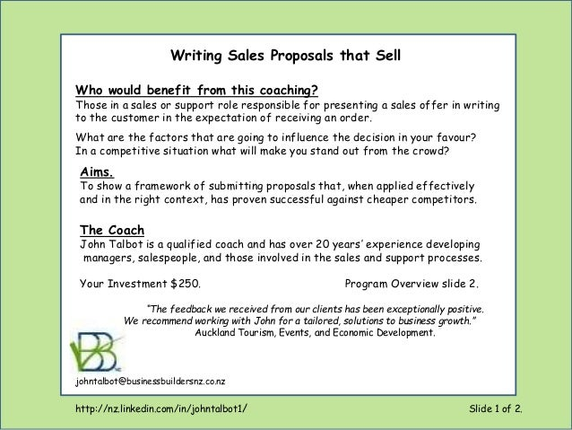 writing sales proposals that sell