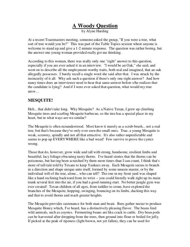 writing sample opinion writing sample opinion a woody question by alyne hardingat a recent toastmasters
