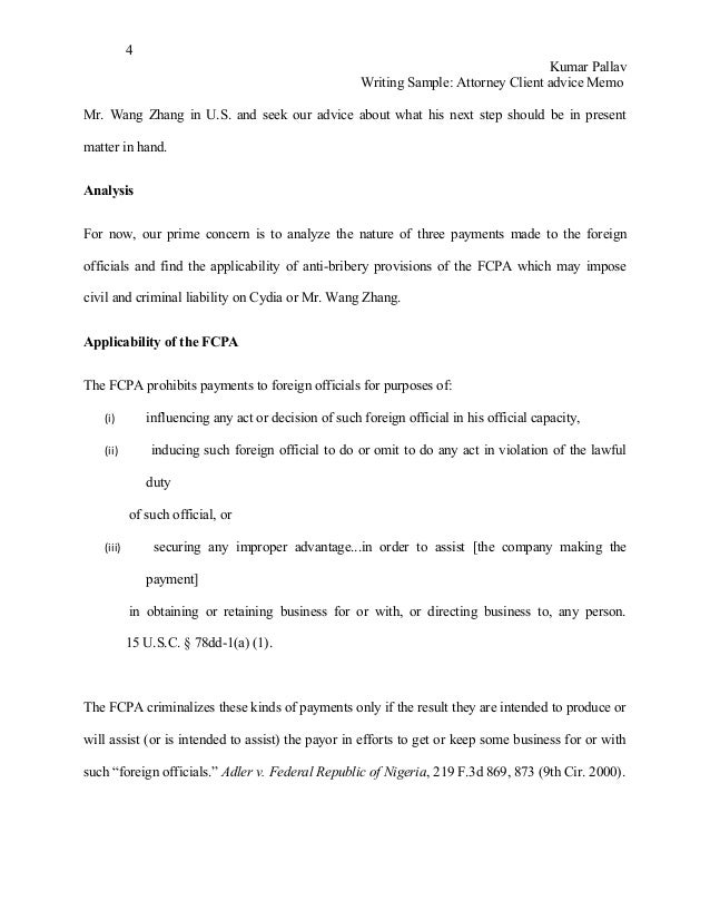 writing a legal letter of advice sample