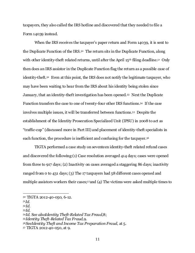 Writing Sample - Tax Identity Theft Note