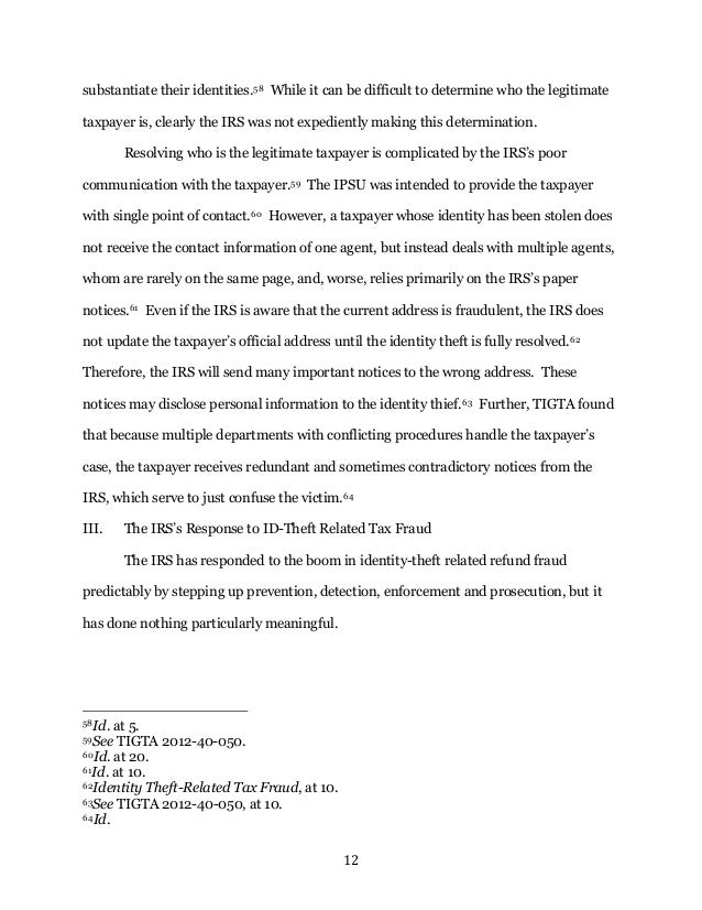 Writing Sample Tax Identity Theft Note