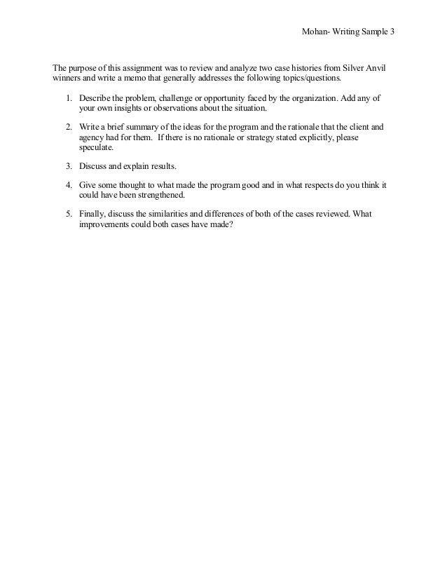 purposes of writing a memorandum