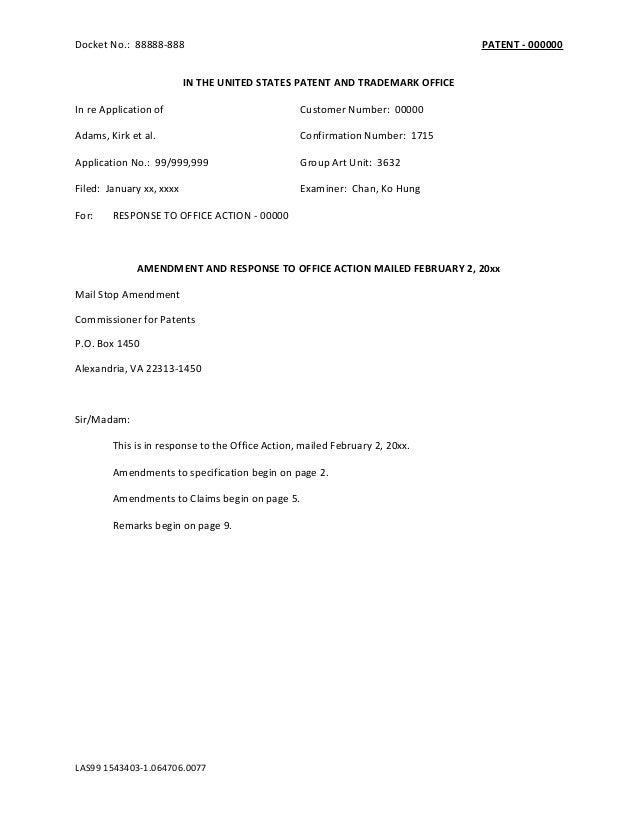 Writing Sample] USPTO Office Action Response by Bryan Johnson