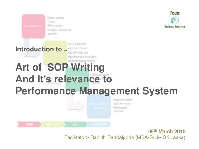 Introduction to .. Art of SOP Writing And it's relevance to Performance Management System 09th March 2015 Facilitator:- Ra...