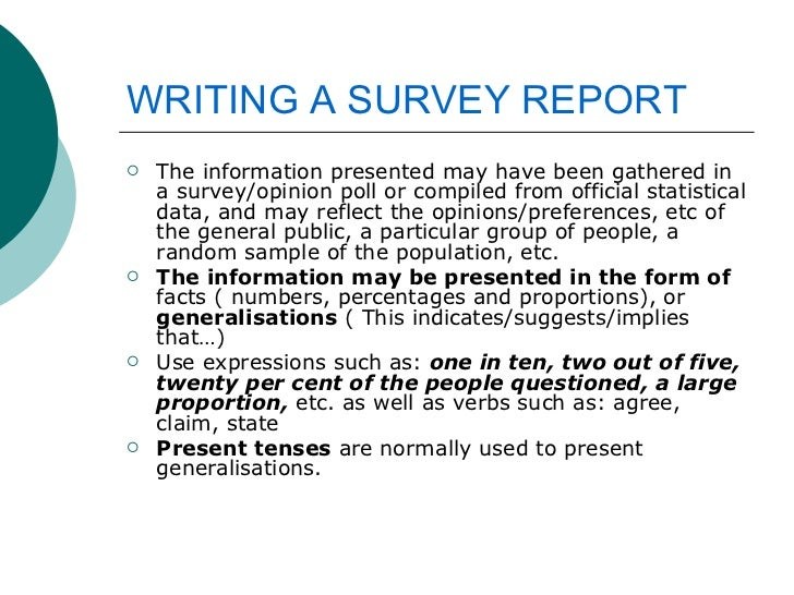 Writing A Survey Report
