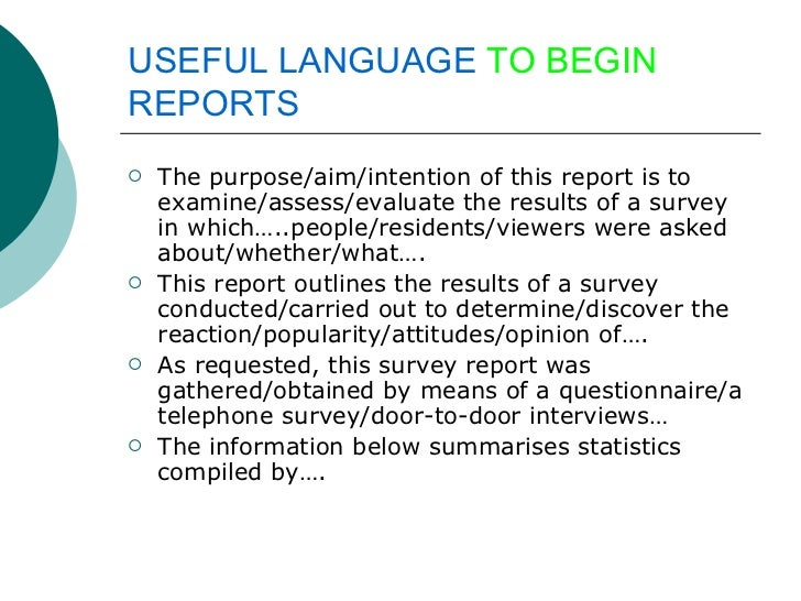 Writing a survey report