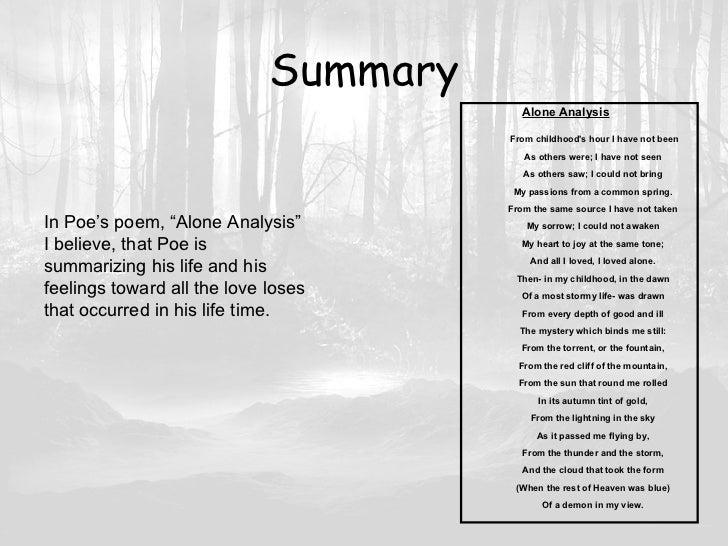 Edgar allan poe alone summary