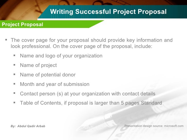 ... 11. Writing Successful Project Proposal ...  Professional Project Proposal