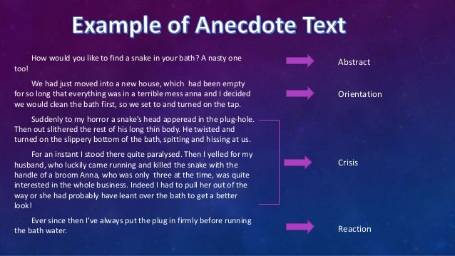 Descriptive Paragraph And Anecdote Text