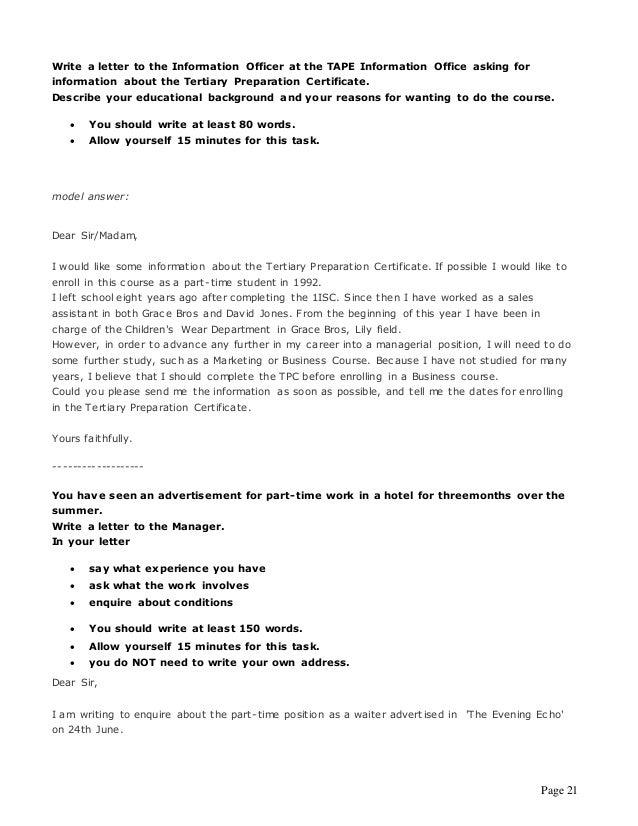 FCE - formal letter or email