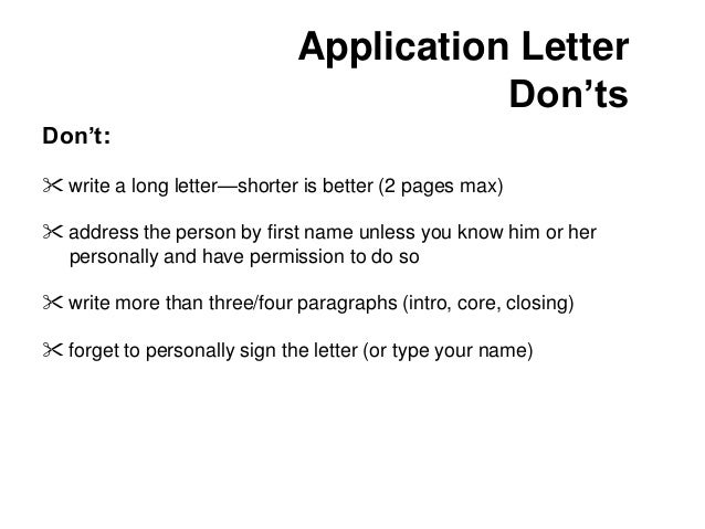 Writing The Application Letter Career development – Application Letter