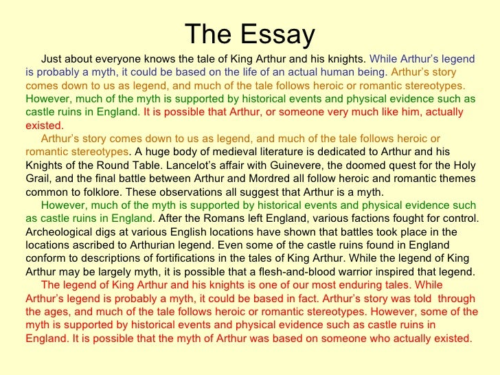 writing the basic essay 18 the essay just about everyone knows the tale of king arthur