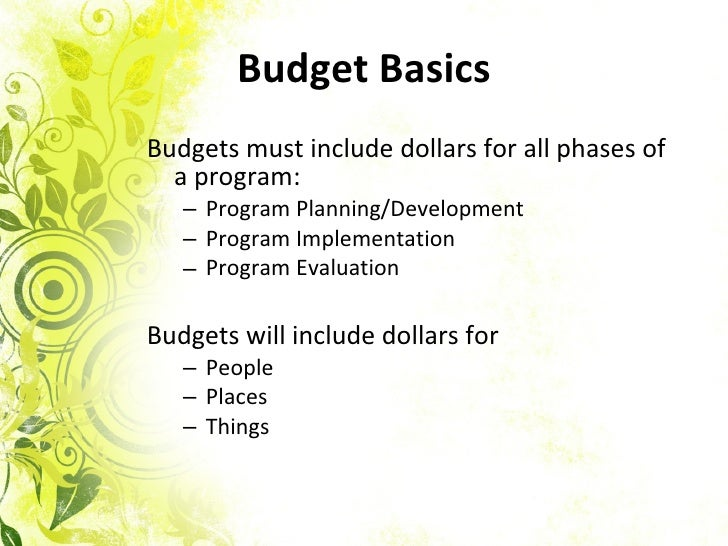 learn how to write a budget