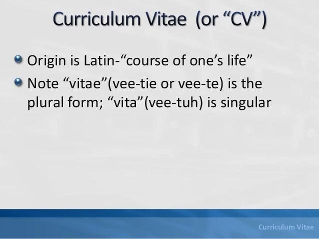 Writing the curriculum vitae