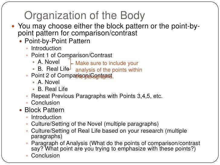 Comparison contrast essay block pattern