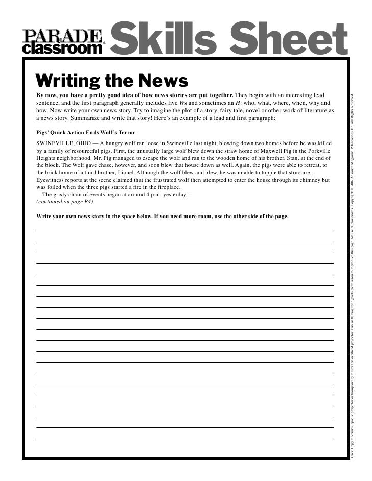 classroom                             ®                                  Skills Sheet  Writing the News  By now, you have ...