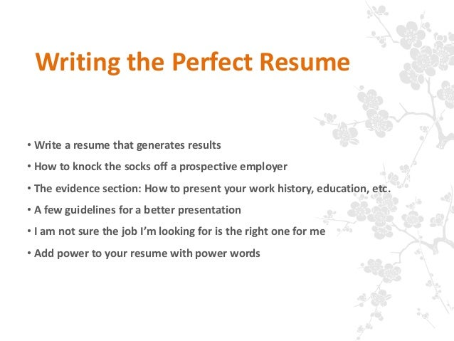 writing the perfect resumes
