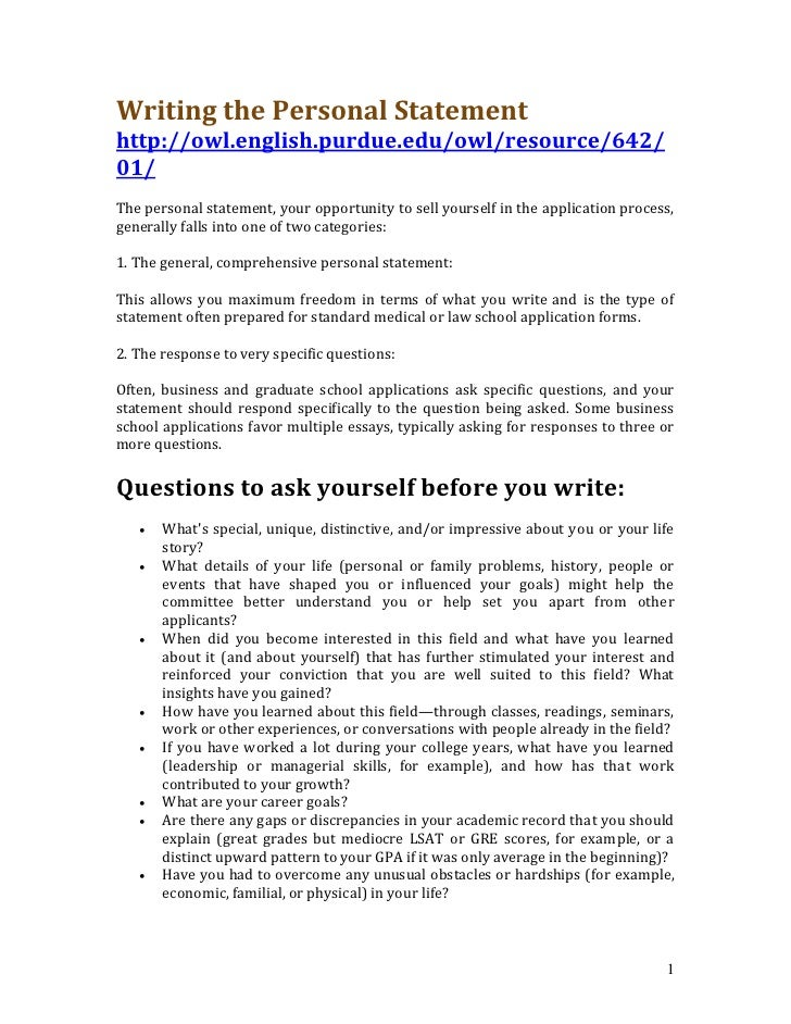 Writing The Personal Statement Http://owl.english.purdue.edu/ ...  Personal Statement Resume
