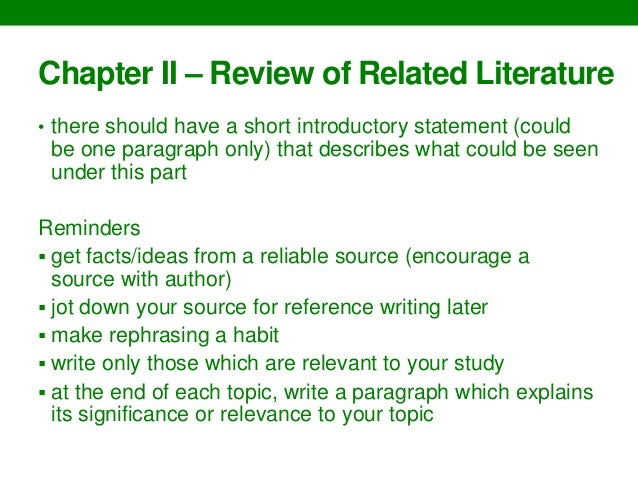 Writing thesis chapters 1-3 guidelines