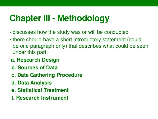 Writing thesis chapters     guidelines SlideShare Chapter III