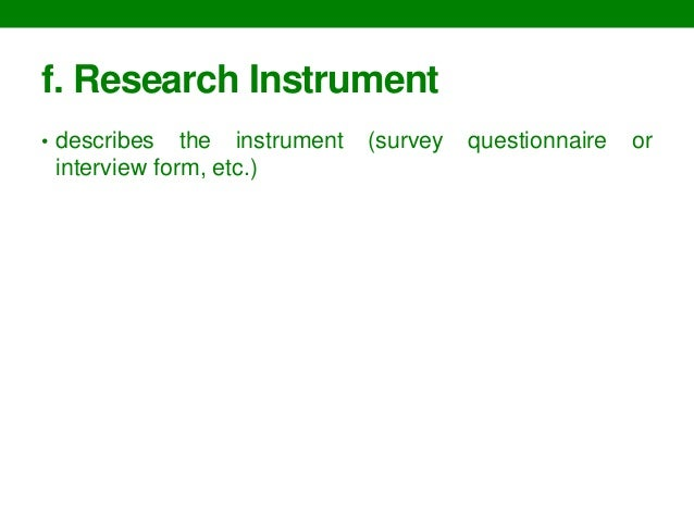 Research Instruments