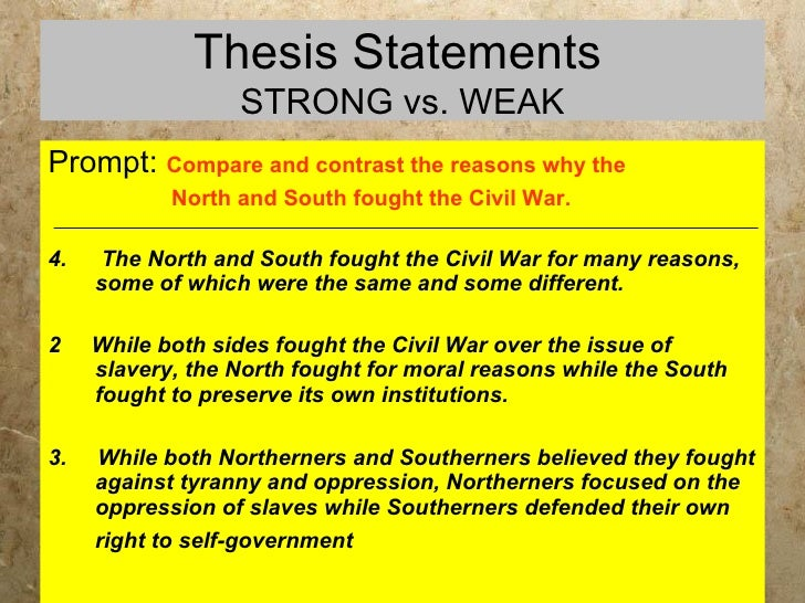 thesis statement about slavery