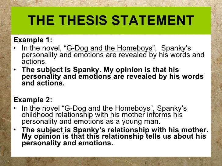 thesis statements for middle school