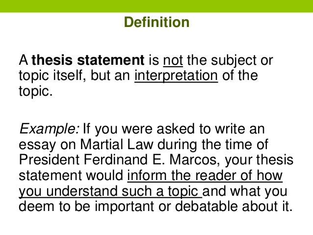 define thesis statment The thesis statement has a subject, main idea and supporting evidence if your business is developing a new product, the subject is that particular product the main idea explains the intended effect the product will have for example, your business wants to develop an all-in-one gardening implement a thesis statement.