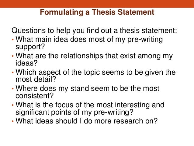 writing a thesis statment