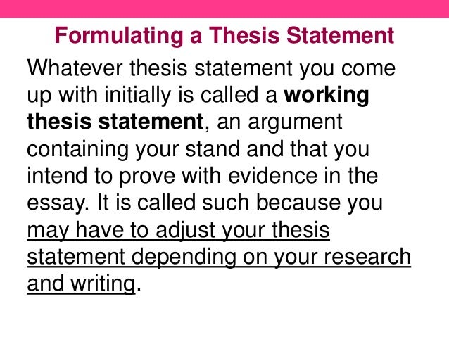 writing thesis statements 8 formulating a thesis statement
