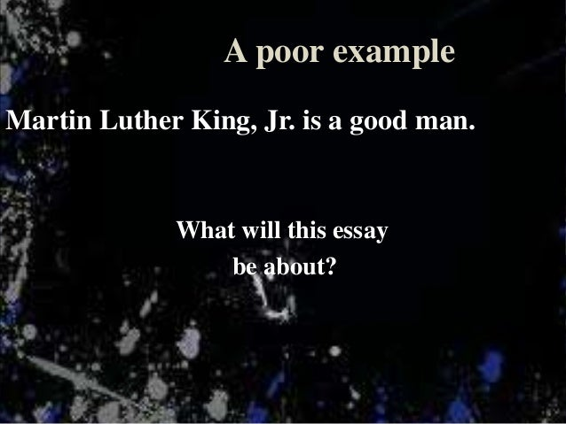 thesis statements on martin luther king jr Toggle here are some examples of thesis statements martin luther king jr was a thesis statement about martin luther king jr.