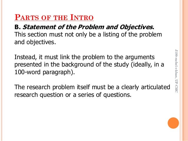 thesis statement of the problem and objectives While your problem formulation serves to describe the aim of your thesis, the objectives provide an accurate description of the specific actions you will take in.