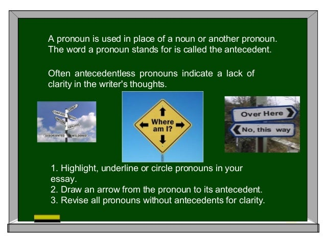 A pronoun is used in place of a noun or another pronoun. The word a pronoun stands for is called the antecedent. Often ant...