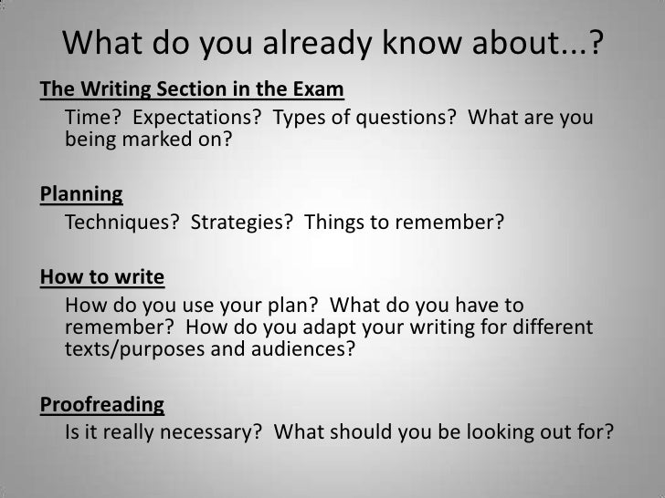 What do you already know about...?The Writing Section in the Exam  Time? Expectations? Types of questions? What are you  b...