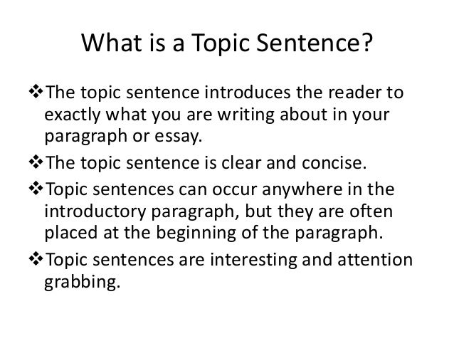 "sentences in an introduction to an essay How to write the introduction of an essay ninety percent of your class will write an essay introduction just (also known as ""topic sentence"" or."