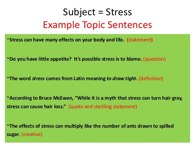 How to write good topic sentences