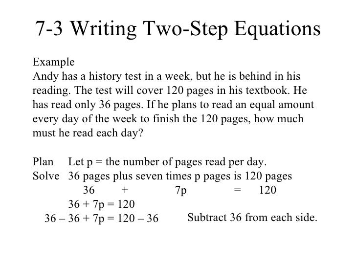 writing two step equations Practice writing equations to model and solve real-world situations.