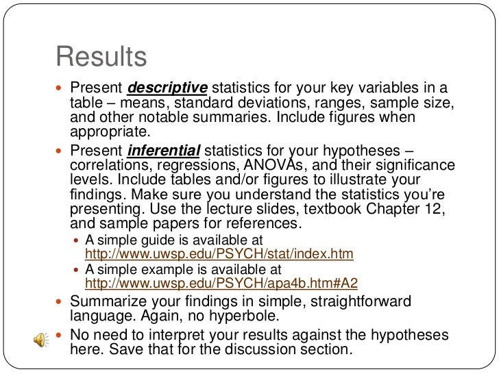 writing a descriptive statistics report pdf