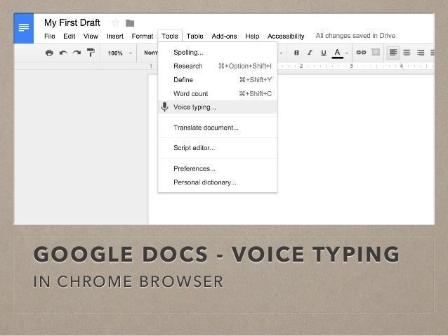 Writing instruction with digital tools for Google docs voice dictation
